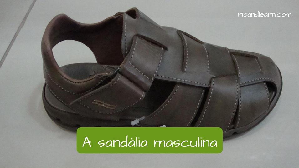 Tipos de calçados em português: A sandália masculina.