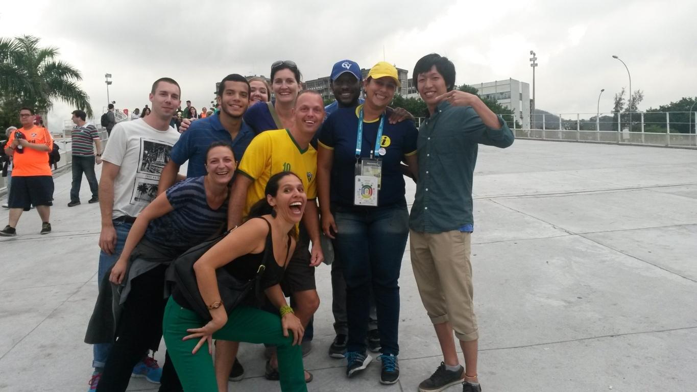 Our Portuguese language students with Professora Nathália outside Maracanã