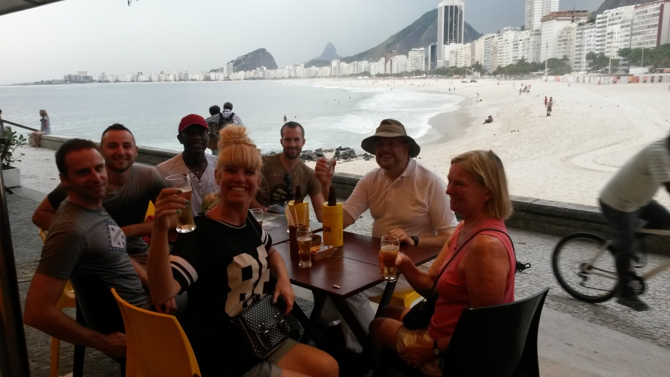 Having a drink after our visit to Fort of Leme