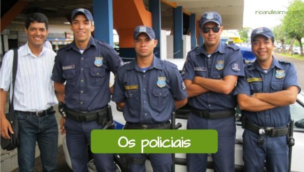 Exemplos de vocabulário policial em Português: Os policiais.