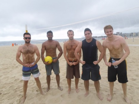 Portuguese students playing beach volley in Copacabana