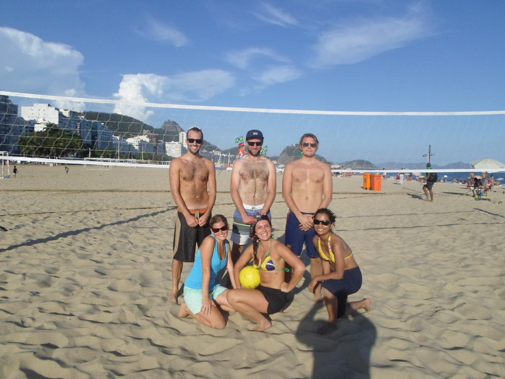 Portuguese students practicing beach volley in Copacabana