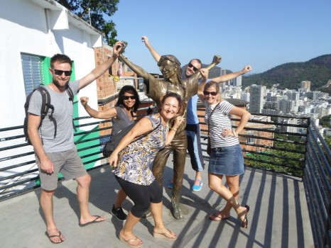 Portuguese students having fun at Morro Dona Marta.