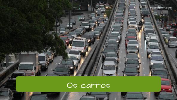 Exemplo de vocabulário de rua: Os carros.