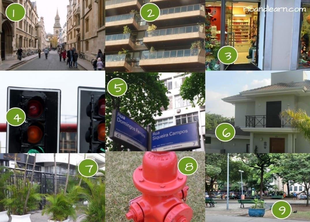 Ejercicio para el vocabulario de calle en portugués.
