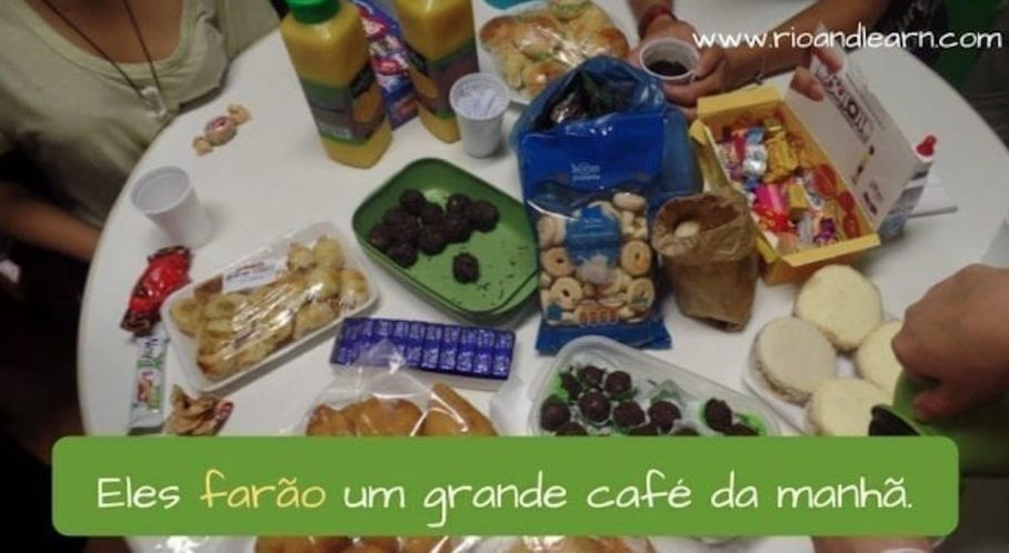 Ejemplo del Futuro de los Verbos Irregulares en Portugués: Eles farão um grande café da manhã.