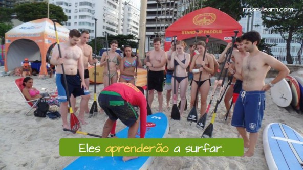 Simple Future Exercises in Portuguese: Eles aprenderão a surfar.
