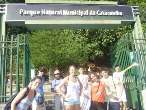 Having fun at Parque das Catacumbas.