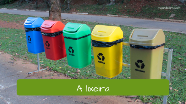 Objects we can find in the city. The trash can: A lixeira.
