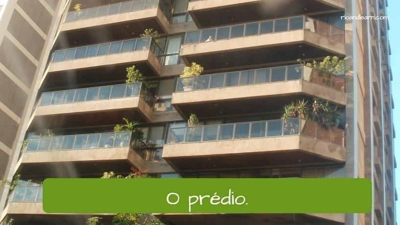 Vocabulario de calle en portugués. El edificio: o prédio