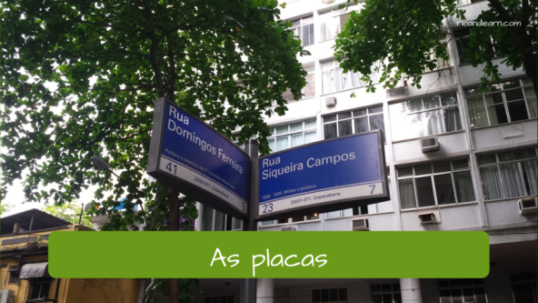 Signaling vocabulary in Portuguese. The sign: As placas.