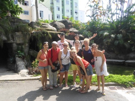 Portuguese students at the cave at Parque do Catete