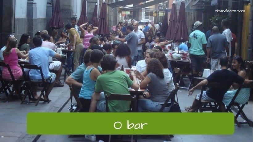 Vocabulario de calle en portugués. El bar: o bar