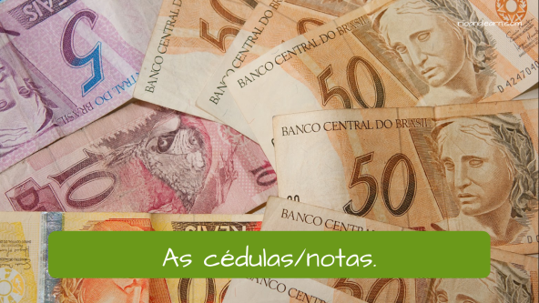 Examples of bank Vocabulary in Portuguese. The bank notes: As cédulas ou as notas.