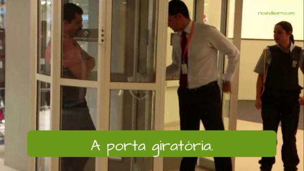 Partes do banco em Português: A porta giratória.