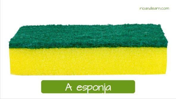 Exemplos de objetos para limpar em Português: A esponja.