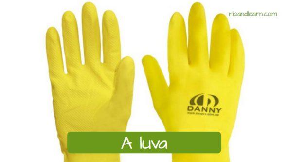 Materiais de Limpeza em Português: A luva.