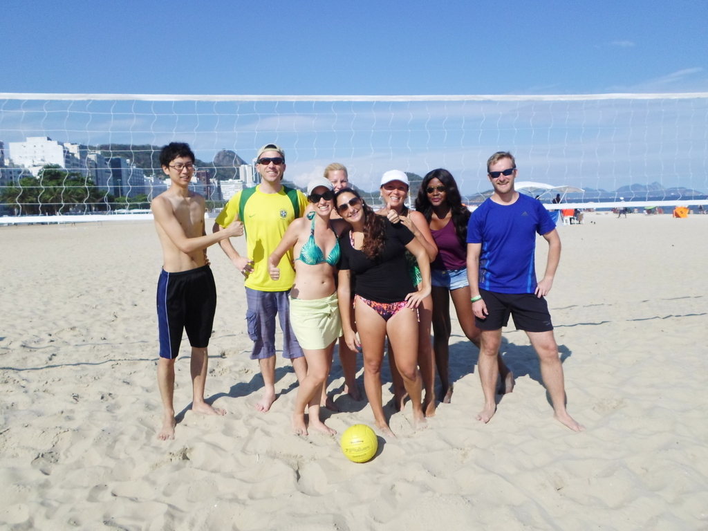 Portuguese students at Copacabana beach.