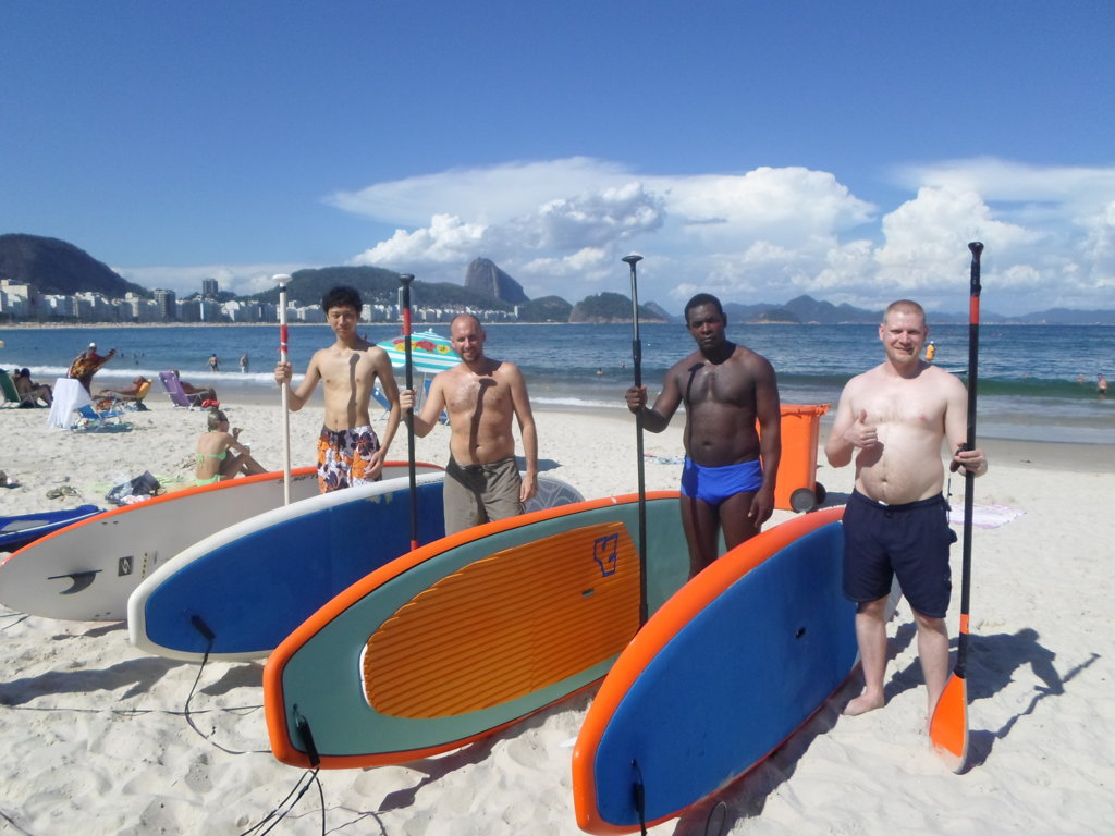Theirs Stand Up Paddle Surf First Experience, in Copacabana's Beach