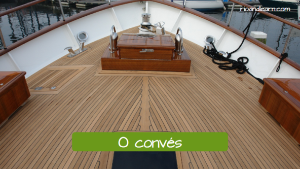 Parts of the boat in Portuguese. The deck: O convés.
