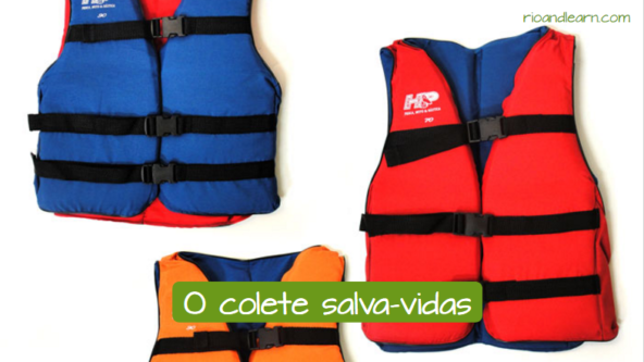 Safety boat equipment in Portuguese. The life vest: O colete salva-vidas.