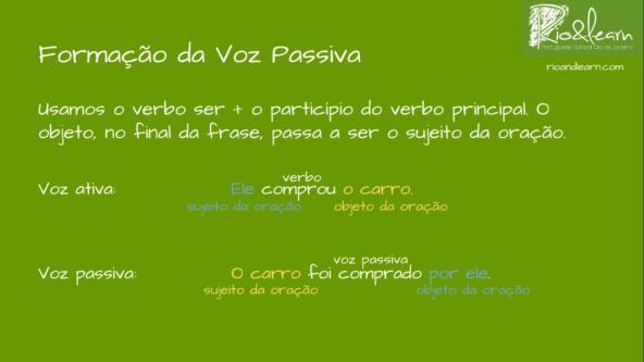 Formação da Voz Passiva em Português. Usamos o verbo ser mais o particípio do verbo principal. O objeto, no final da frase, passa a ser o sujeito da oração. Voz ativa: Ele comprou o carro. Voz passiva: O carro foi comprado por ele.