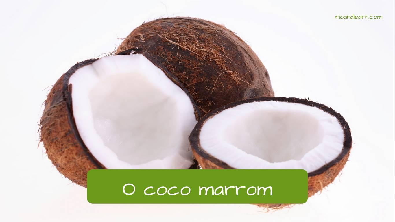Coco marrón en portugués: coco marrom.