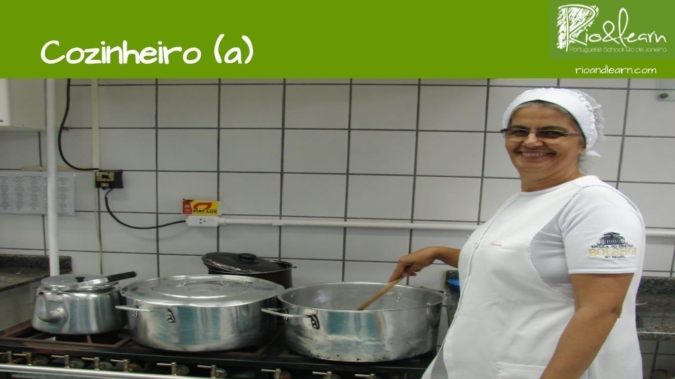 Professions in Portuguese. A cook. A cozinheira