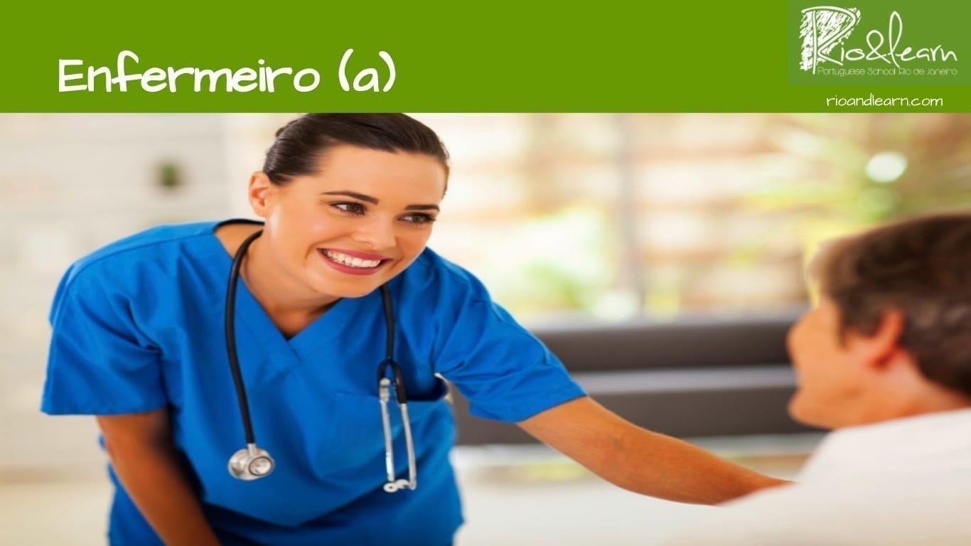 Las profesiones en portugués. Enfermera: Enfermeira