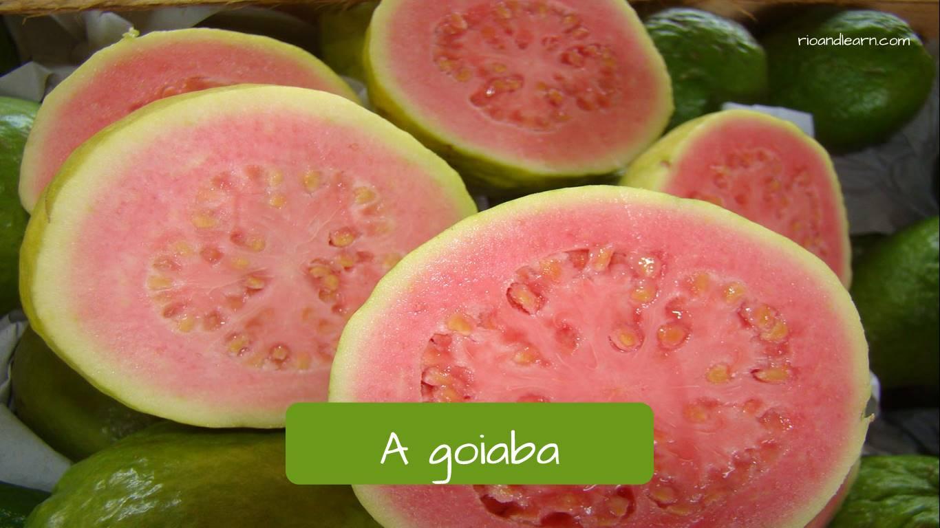 Las frutas en portugués: A goiaba.