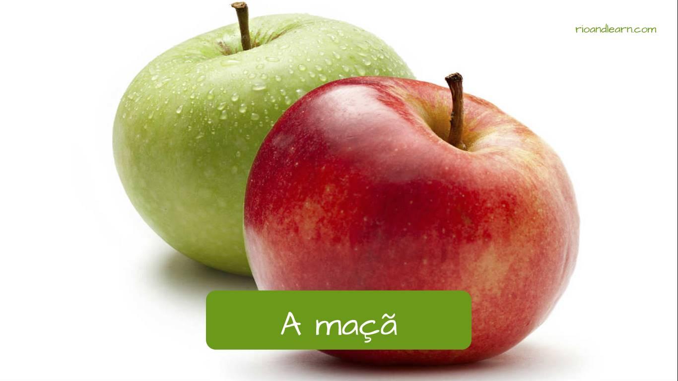 Manzana en portugués: maçã