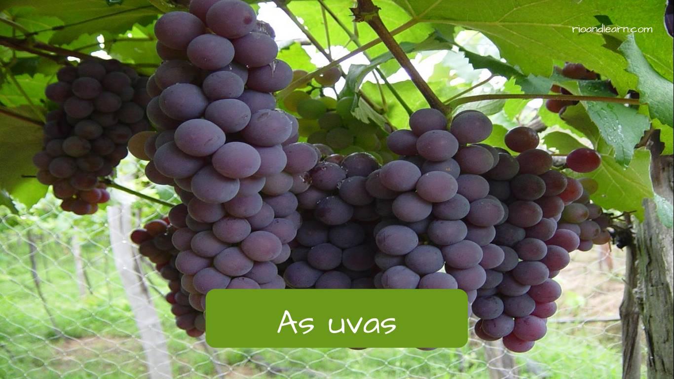 Uva en portugués: as uvas.