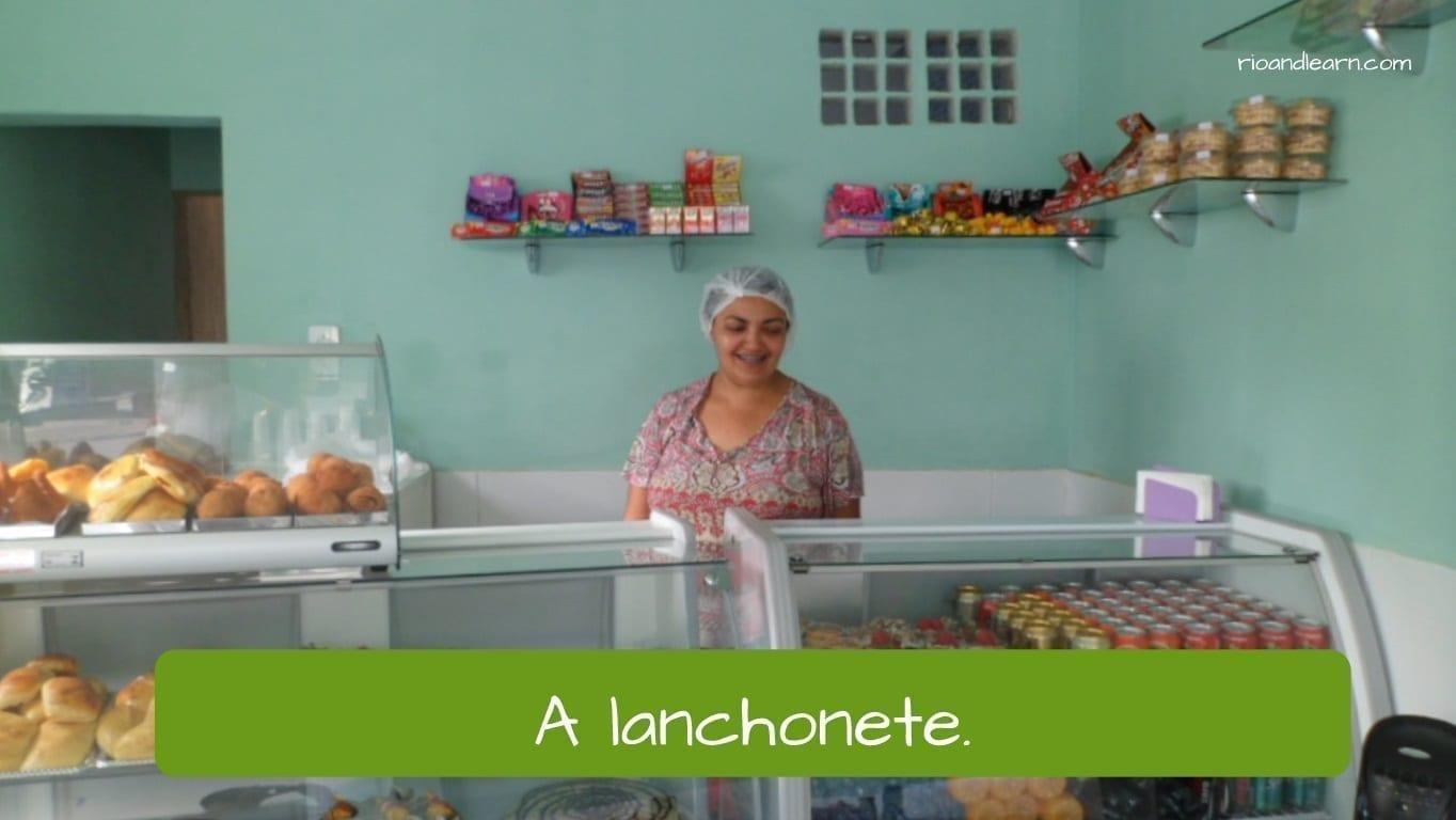 Tipos de restaurante en portugués: lanchonete.