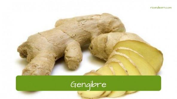 Spices in Portuguese. Ginger: Gengibre.