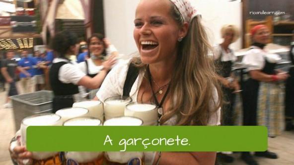 Vocabulário de restaurante em Português: a garçonete (waitress).