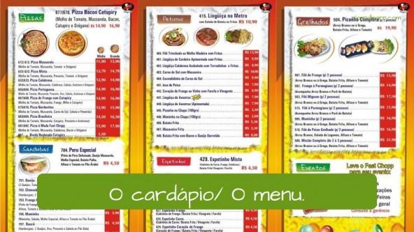 Menu in Portuguese: O menu / o cardápio.