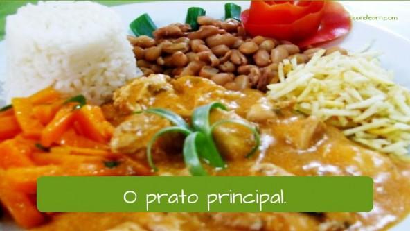 Vocabulary of restaurant in Portuguese: o prato principal.