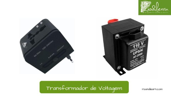 Plugs in Brazil. Voltage adaptator in Portuguese: Transformador de voltagem.