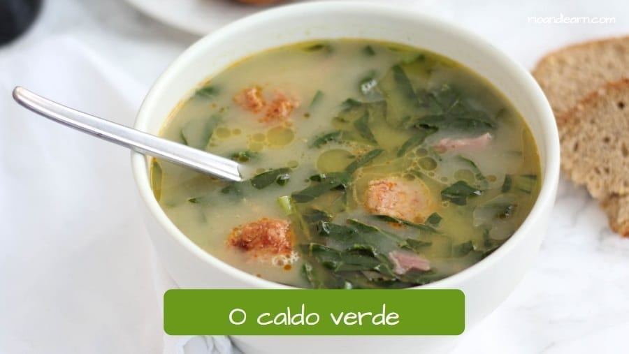 Typical Brazilian green soup with sausage. Caldo verde. Bocarole soup.