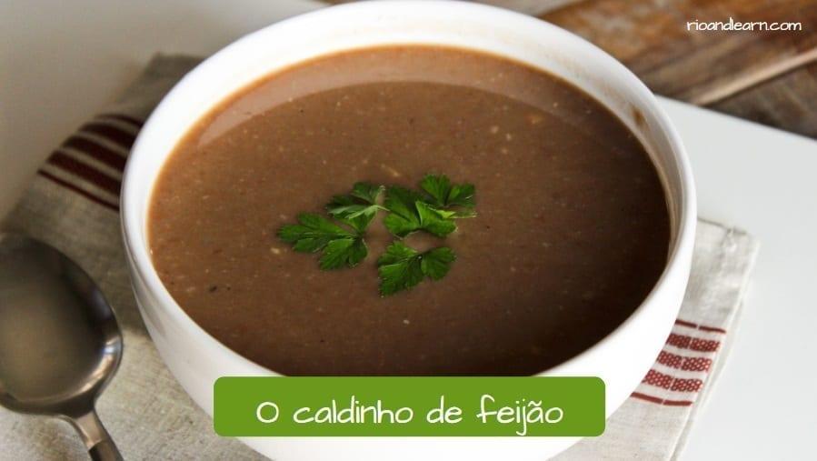 Brazilian black beans soup. Caldinho de feijão.