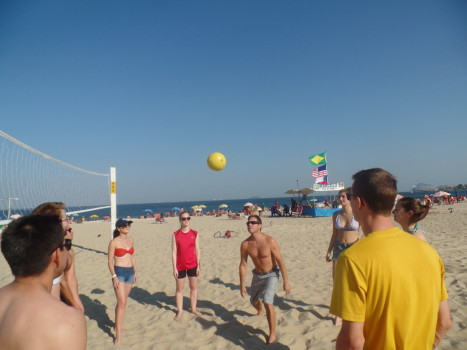 Portuguese students playing volley at Copacabana.