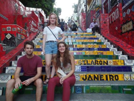 Portuguese students at Escadaria Selarón.