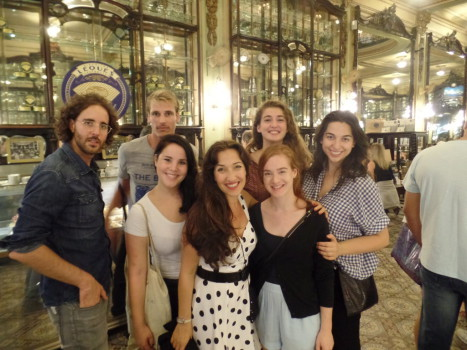 Portuguese students at Confeitaria Colombo.