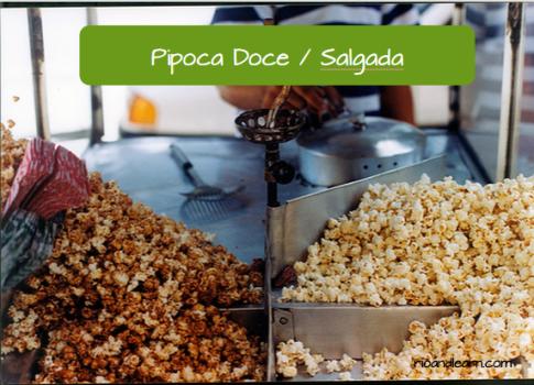 Comida de rua brasileira: Pipoca Doce / Salgada.