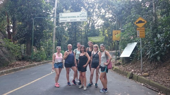 Foreigner girls before treking to Vista Chinesa at Parque Nacional da Tijuca.