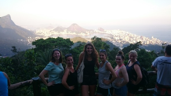Chinese view with foreign Portuguese language Rio & Learn students in Rio de Janeiro, Brazil.