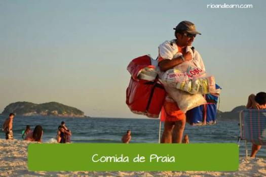 Beach foods in Brazil. Comidas de praia do Brasil.