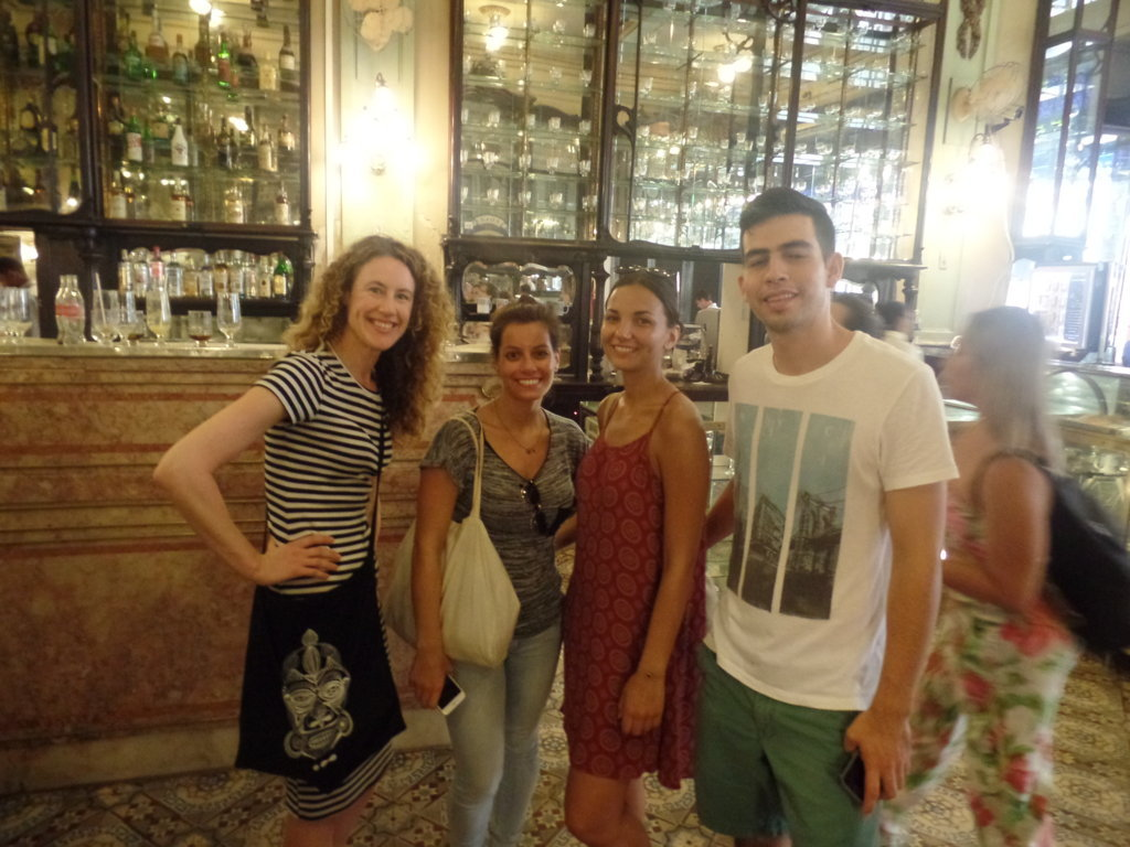 Portuguese students at Confeitaria Colombo
