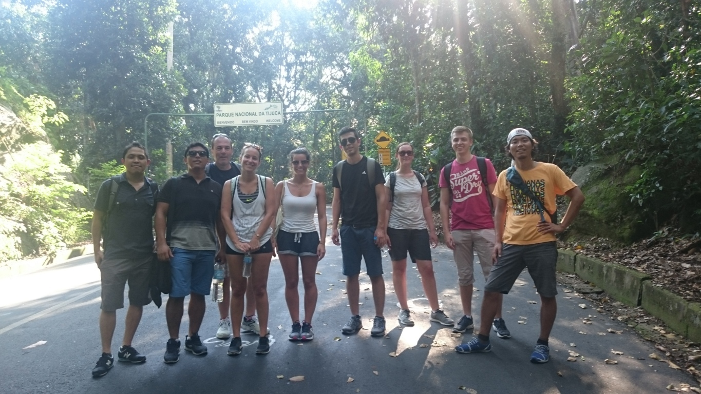 Our Portuguese students at the entrance of Parque da Tijuca.