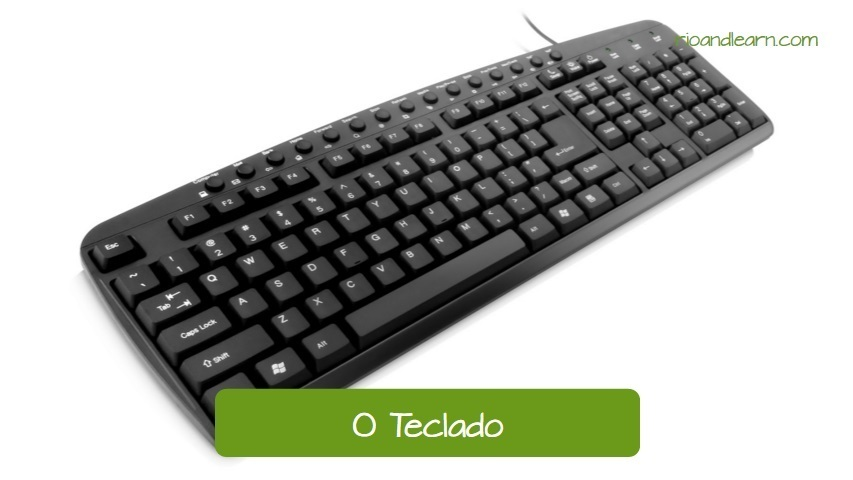 The keyboard in Portuguese: O teclado. Brand new black keyboard.